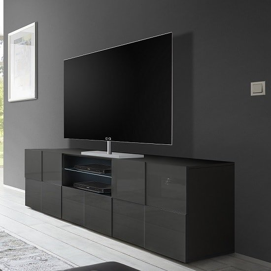 aspen modern tv sideboard in grey high gloss with led 32220. Black Bedroom Furniture Sets. Home Design Ideas