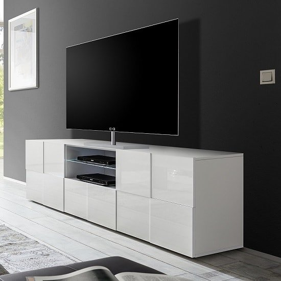 aspen modern tv sideboard in white high gloss with 2 doors. Black Bedroom Furniture Sets. Home Design Ideas
