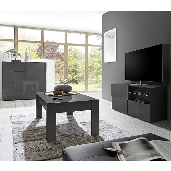 Aspen Contemporary TV Stand In Grey High Gloss And LED_2