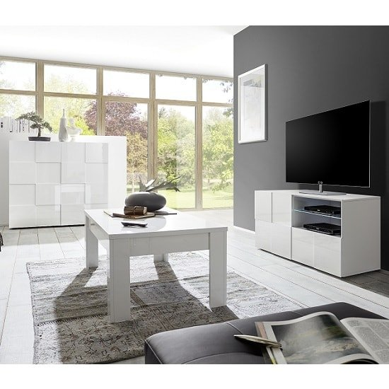 Aspen Modern Highboard In White High Gloss With 2 Doors_4