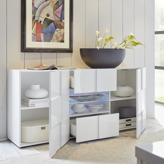 Aspen Modern Sideboard In White High Gloss With LED_2