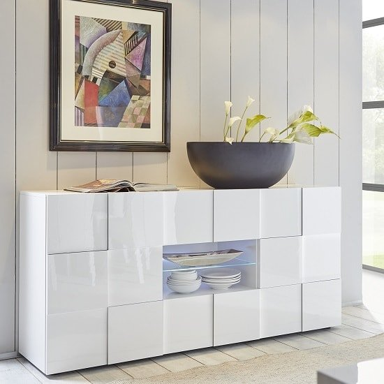 Aspen Modern Sideboard In White High Gloss With LED_1