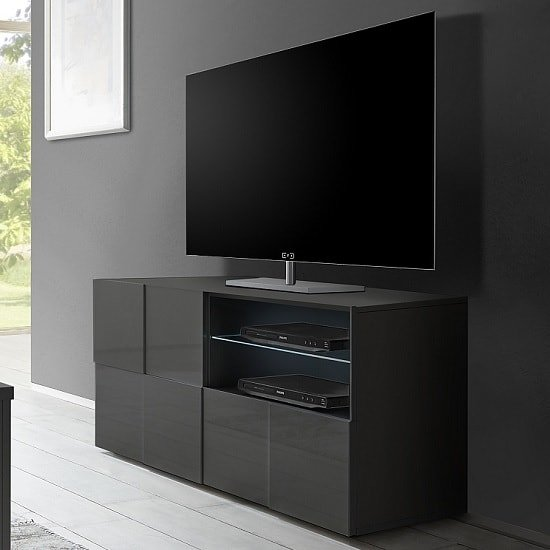 Aspen Contemporary TV Stand In Grey High Gloss And LED
