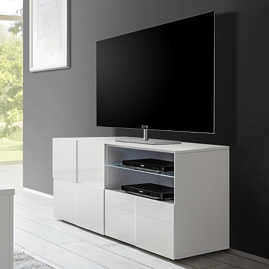 Aspen Contemporary TV Stand In White High Gloss With LED_1