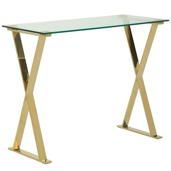 Aspire Glass Computer Desk In Clear With Gold Finish Frame