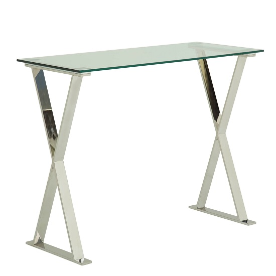 Aspire Glass Computer Desk In Clear With Stainless Steel Finish_1