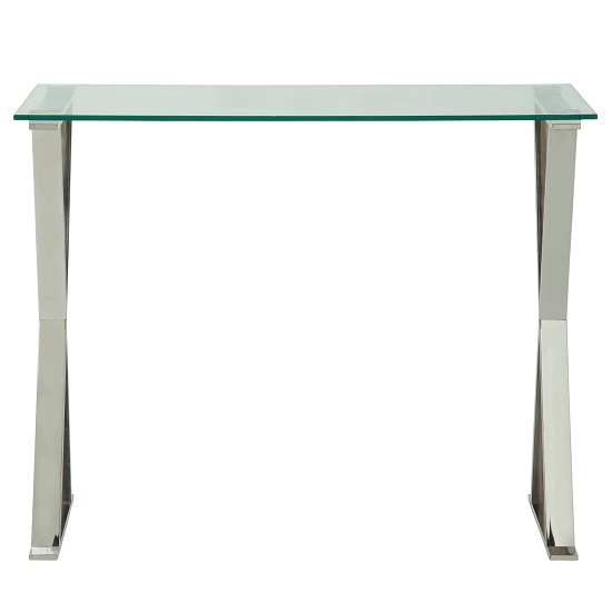 Aspire Glass Computer Desk In Clear With Stainless Steel Finish_3