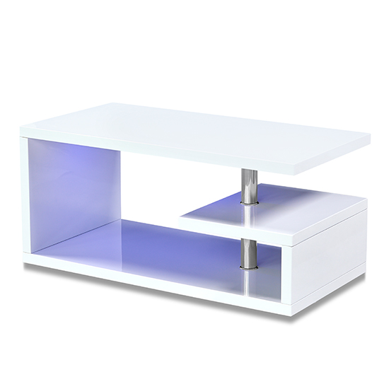 Astana LED Coffee Table In White High Gloss