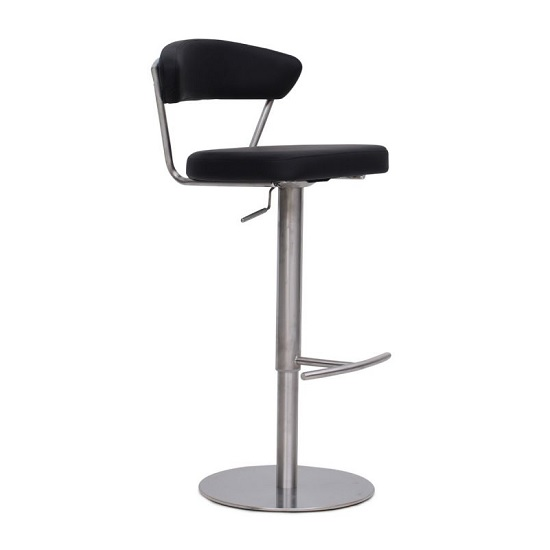 Astley Bar Stool In Black PU With Brushed Stainless Steel Base