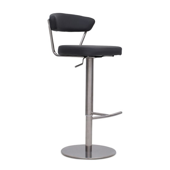 Astley Bar Stool In Grey PU With Brushed Stainless Steel Base