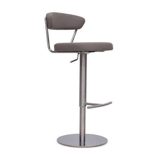 Product photograph showing Astley Bar Stool In Taupe Pu With Brushed Stainless Steel Base