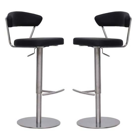 Product photograph showing Astley Bar Stools In Grey Faux Leather In A Pair