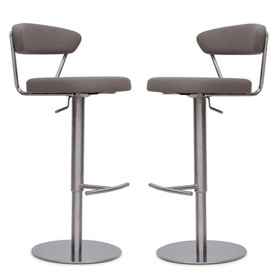 Astley Bar Stools In Taupe Faux Leather In A Pair
