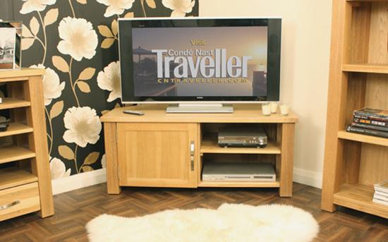 Aston Oak Corner LCD TV Cabinet