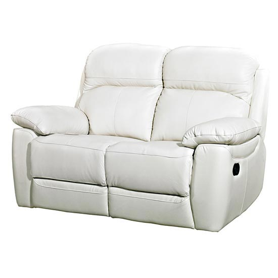 Astona Leather 2 Seater Fixed Sofa In Ivory