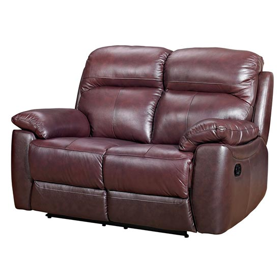 Astona Leather 2 Seater Recliner Sofa In Chestnut