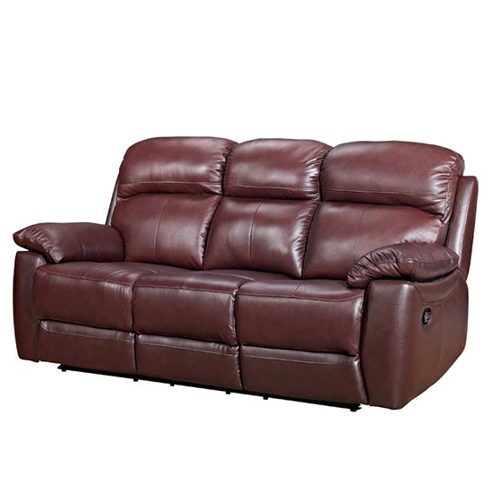 Astona Leather 3 Seater Fixed Sofa In Chestnut