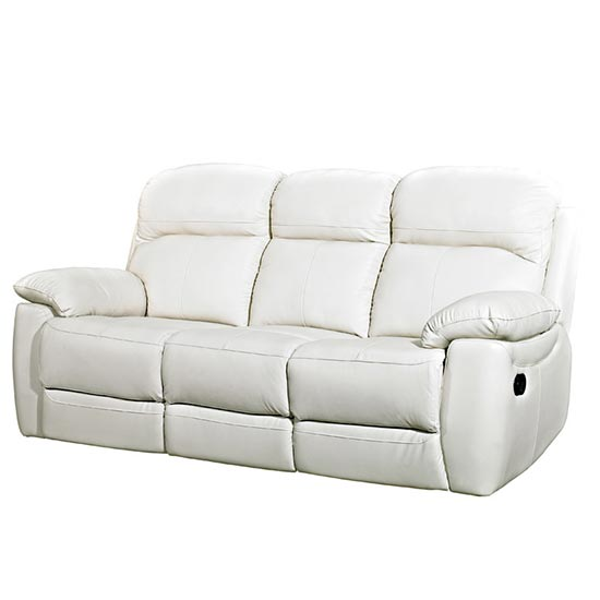 Aston Leather 3 Seater Fixed Sofa In Ivory