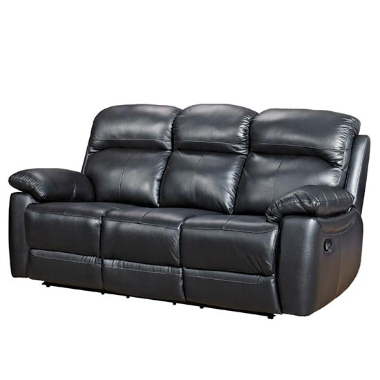 View Astona leather 3 seater recliner sofa in black