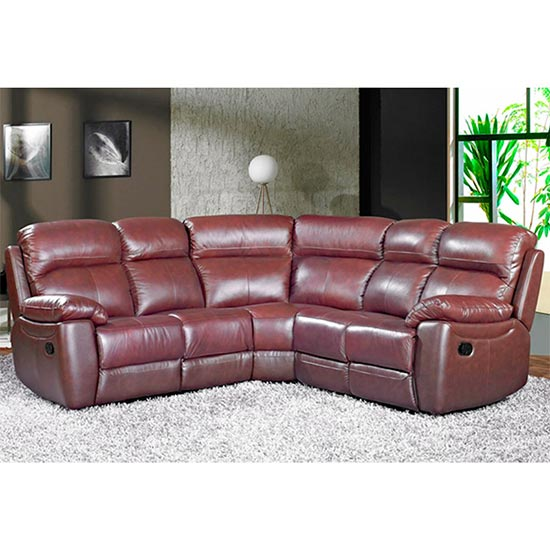 Aston Leather Corner Recliner Sofa In Chestnut