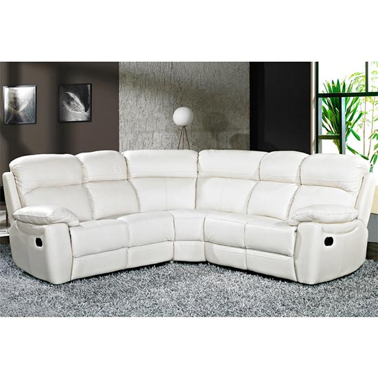 Aston Leather Corner Recliner Sofa In Ivory