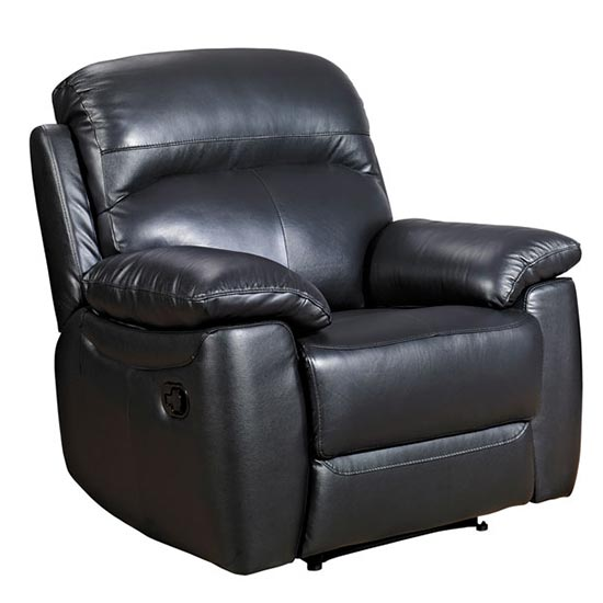 Aston Leather Recliner Sofa Chair In Black