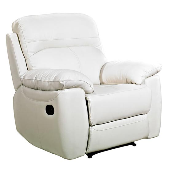 Astona Leather Recliner Sofa Chair In Ivory