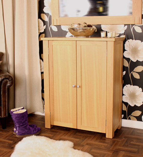 Aston Shoe Cupboard In Oak With 2 Doors