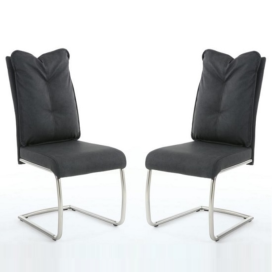 Aston Modern Dining Chair In Dark Grey Fabric In A Pair