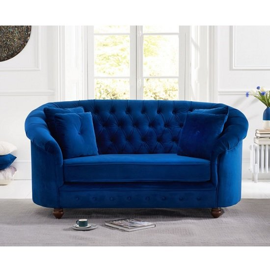 Image of Astoria Chesterfield 2 Seater Sofa In Blue Plush Fabric