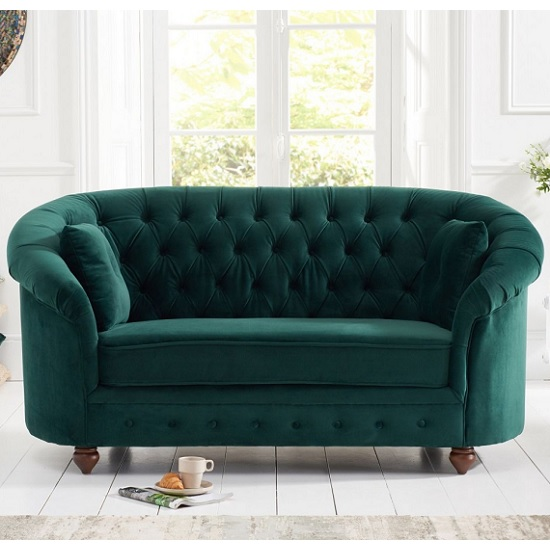 Image of Astoria Chesterfield 2 Seater Sofa In Green Plush Fabric