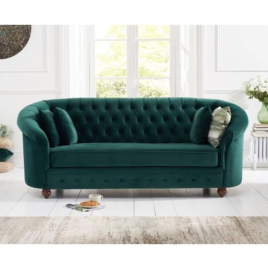Image of Astoria Chesterfield 3 Seater Sofa In Green Plush Fabric