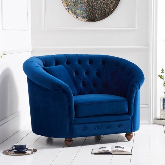 Image of Astoria Sofa Chair In Blue Plush Fabric With Wooden Legs
