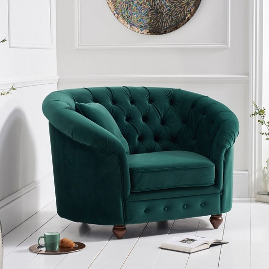 Image of Astoria Sofa Chair In Green Plush Fabric With Wooden Legs