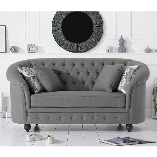 Image of Astoria Chesterfield 2 Seater Sofa In Grey Linen Fabric
