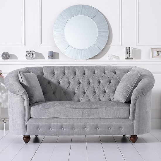 Image of Astoria Chesterfield 2 Seater Sofa In Grey Plush Fabric