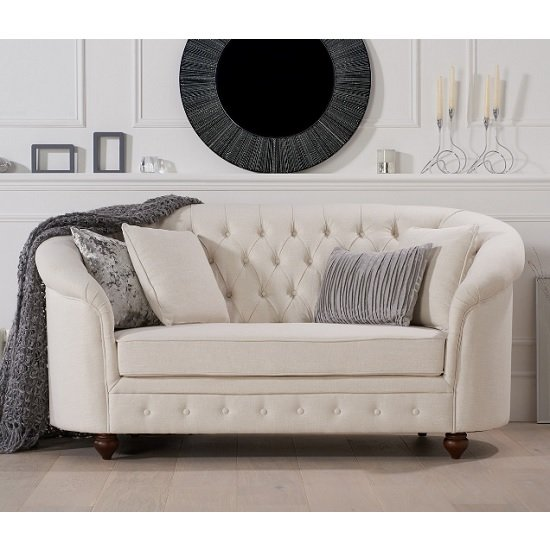 Image of Astoria Chesterfield 2 Seater Sofa In Ivory Fabric