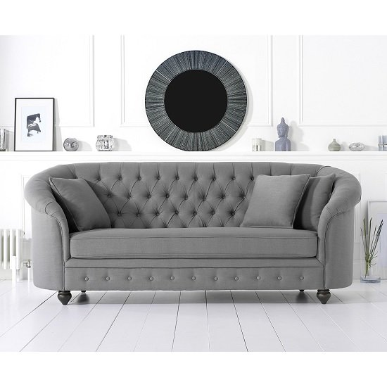 Image of Astoria Chesterfield 3 Seater Sofa In Grey Linen Fabric