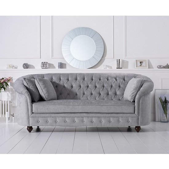 Image of Astoria Chesterfield 3 Seater Sofa In Grey Plush Fabric