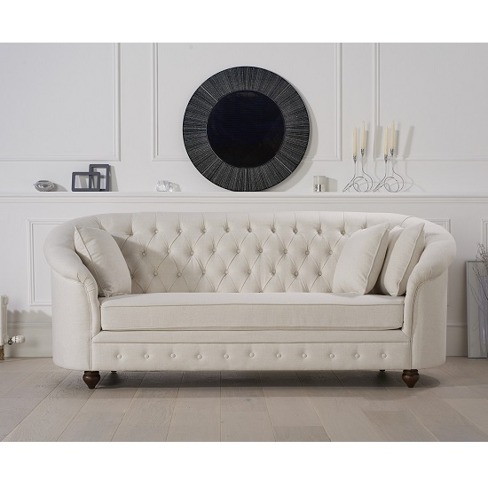 Image of Astoria Chesterfield 3 Seater Sofa In Ivory Fabric