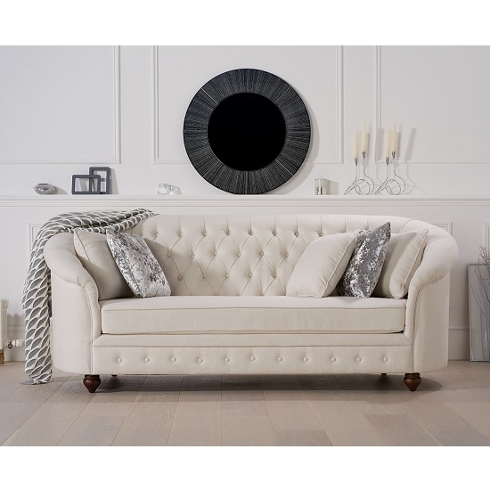 Astoria Chesterfield 3 Seater Sofa In Ivory Fabric_2