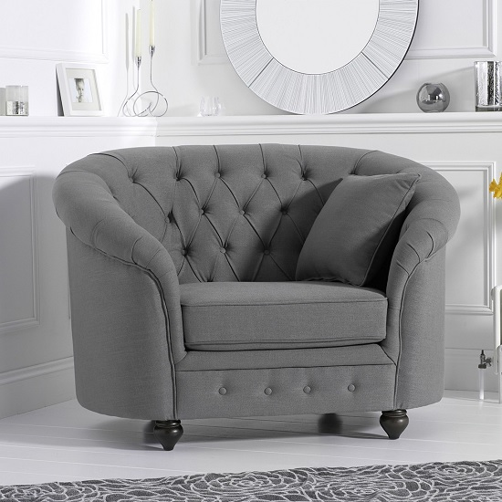 Astoria Sofa Chair In Grey Linen Fabric With Wooden Legs