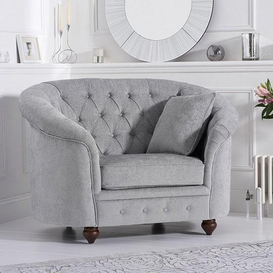 Image of Astoria Chesterfield Sofa Chair In Grey Plush Fabric