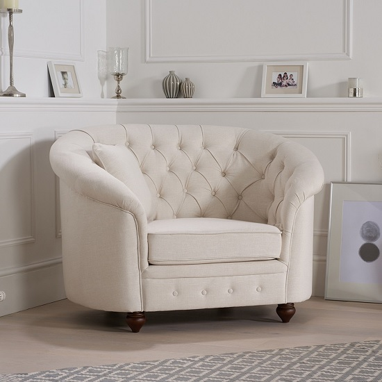 Image of Astoria Chesterfield Sofa Chair In Ivory Fabric With Wooden Legs