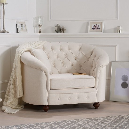 Astoria Chesterfield Sofa Chair In Ivory Fabric With Wooden Legs_2