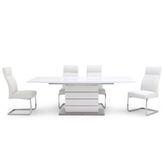 Astrid Glass Extendable Dining Table White Gloss 6 Swiss Chairs