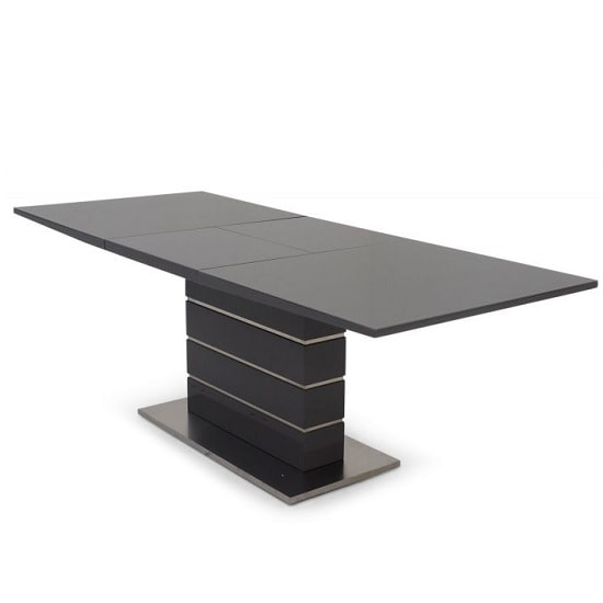 Astrid Glass Extendable Dining Table With Grey High Gloss