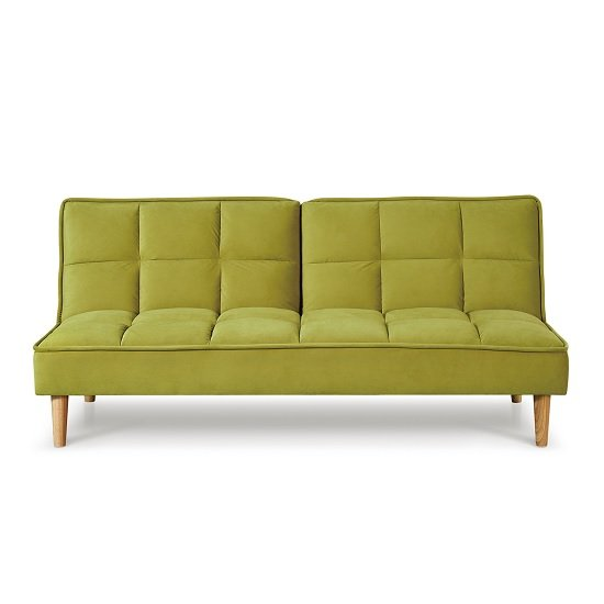 Astrid Fabric Sofa Bed In Green Velvet With Wooden Legs_4