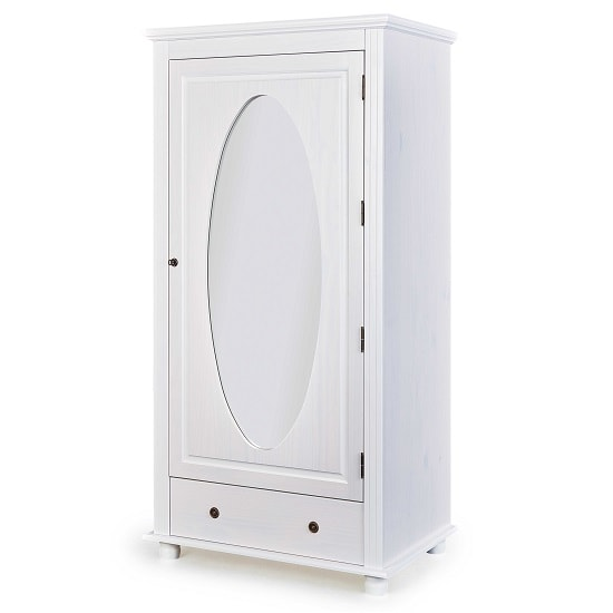 Astrid Wooden Mirror Wardrobe In White With 1 Door And 1 Drawer