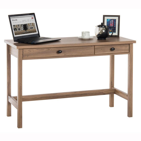 Athena Computer Desk In Salt Oak With 2 Drawers